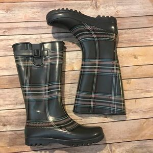 Sperry Top Sider Plaid Rain Boots Fleece Lined